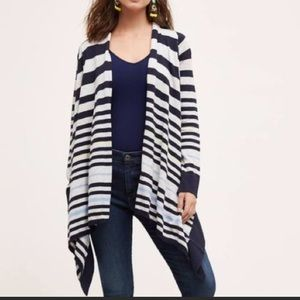 Anthro Moth waterfall striped cardigan sweater L